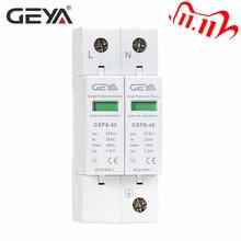 Gratis Verzending Geya GSP8 2Pole Surge Protector 220V Din Rail Spd AC275V AC385V 400V 440V 40KA spd Huis Surge Protector
