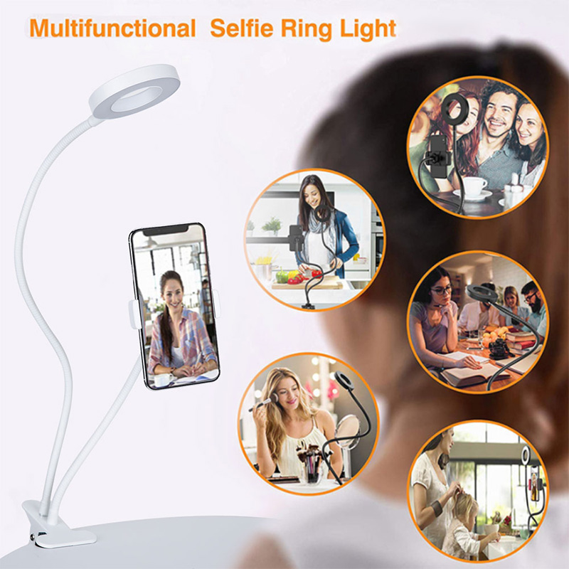 LED Mirror Makeup Mirror Rotating Light Mirrors With Flash Ring Light Mobile Phone Holder 24 LED 360 Degree Long Arm USB Light