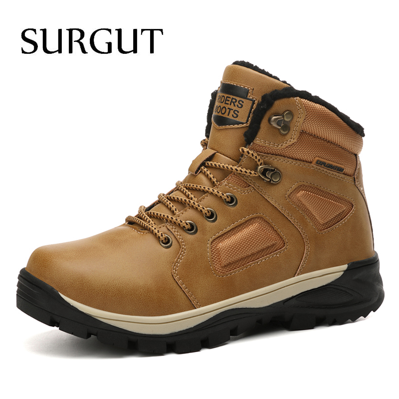 SURGUT Leather Winter Men Boots Waterproof Super Warm Fur Snow Boots Men Winter Work Casual Shoes Military Combat Ankle Boots