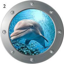 Autocollants muraux en Pvc 3D, fausses fenêtres, sous-marin, animaux, sparadrap, décorations pour chambres d'enfants, maison, poisson requin, sparadrap muraux