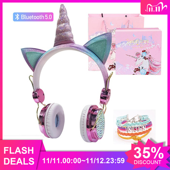 Unicorn Headphones Bluetooth 5.0 Cute Girl casco Wireless headset with microphone Auriculares Christmas gift