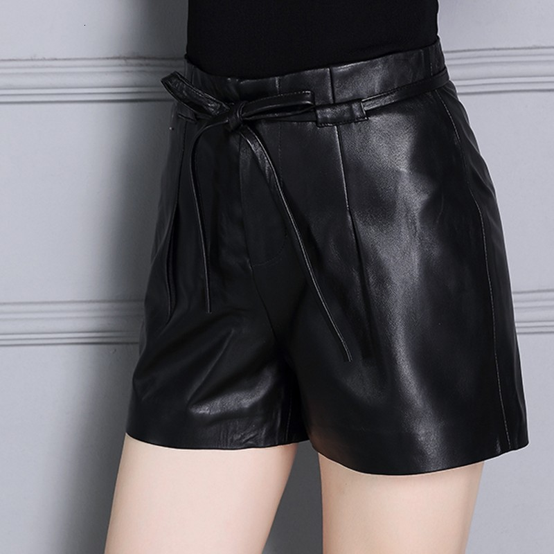 New Office Lady Punk Style Female Shorts Genuine Leather Streetwear Casual High Waist Drawstring Trousers Sheepskin Autumn Woman