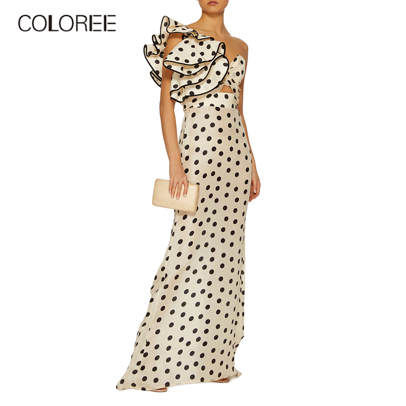 COLOREE Sexy Ruffles Polka Dot One Shoulder Dress 2019 Summer Women Hollow Out V neck Backless Dress Vacation Casual Dress