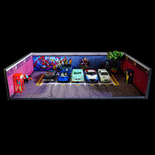1/64 scale car repair library scene garage workshop background board for car model parking vehicle toys collection display gifts