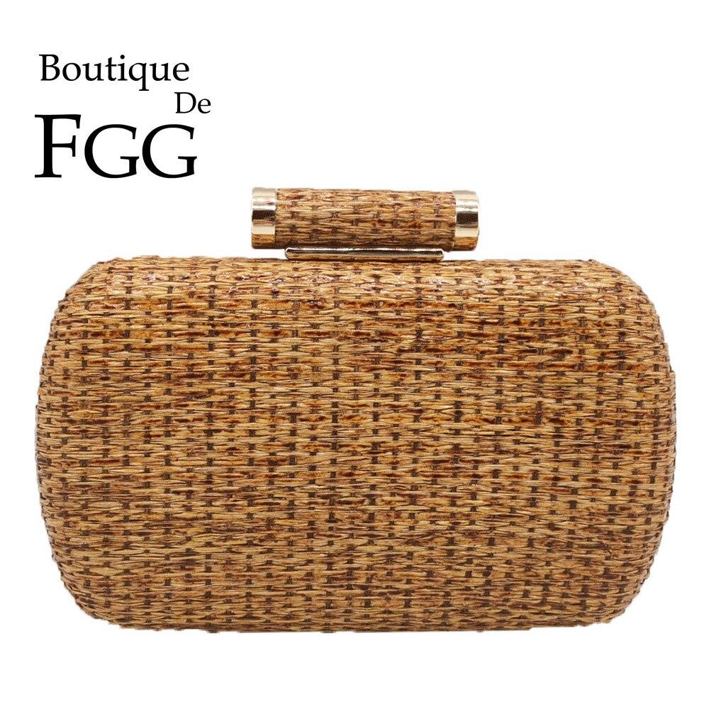 Женский соломенный клатч Boutique De FGG, металлическая сумка через плечо с цепочкой, вечерний клатч-кошелек