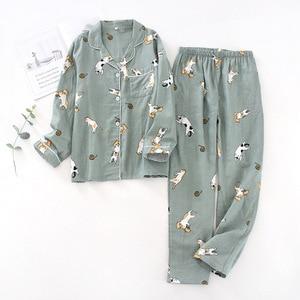 Ladies Pajamas Set 100% Gauze Cotton Cartoon Dog Printed Pyjamas Women 2Pcs Turn-down Neck Shirt+Pants Comfort Nature Sleepwear