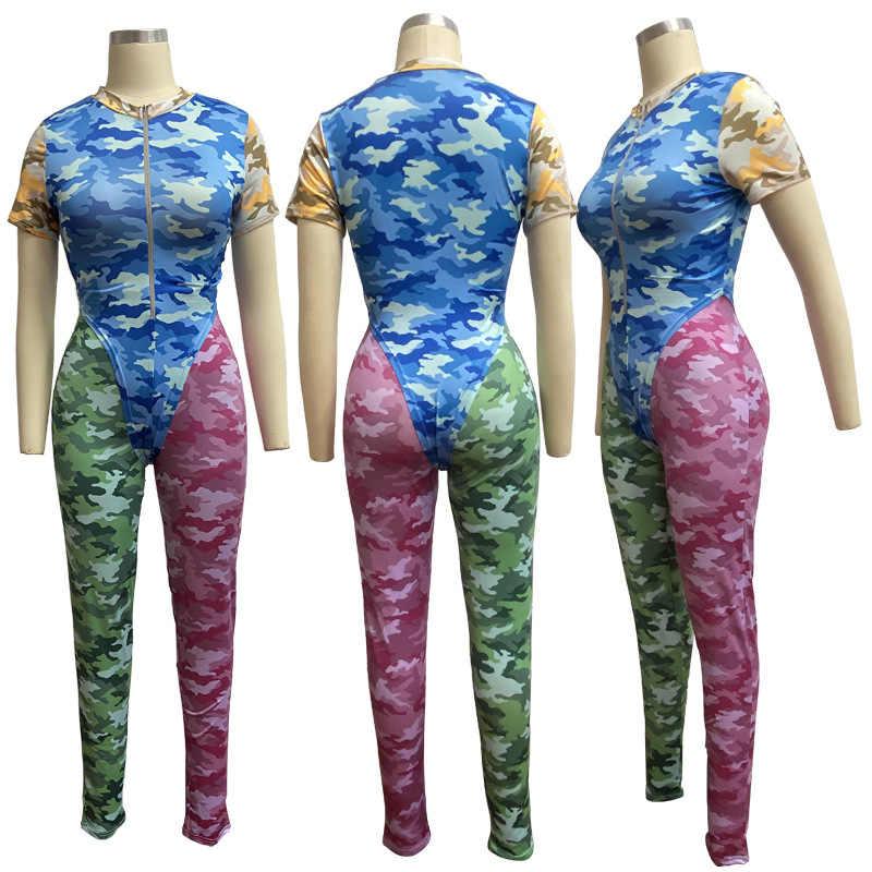 新セクシーな迷彩ツーピースセットトラックスーツ女性の夏の服ボディスーツとパンツ汗スーツ 2 ピース衣装マッチングセット