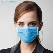 50Pcs/100pcs Mask Disposable Nonwove 3 Layer Ply Filter Mask