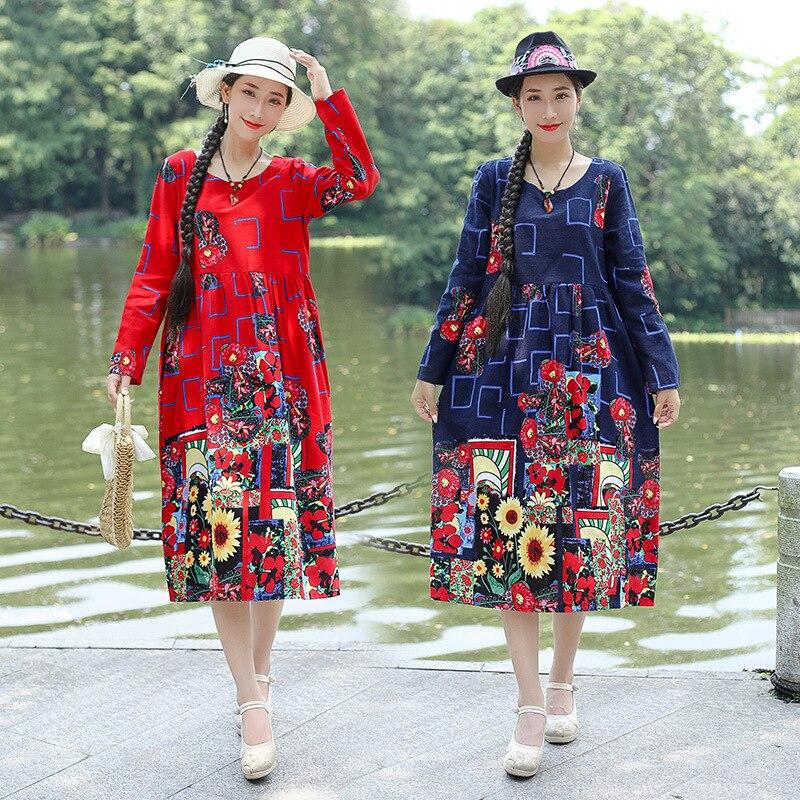 2019 Autumn New Style Long Sleeve Middle-aged Women Dress Loose Cotton Retro Printed Corset Swinging Skirt Ethnic-Style Dress Wo