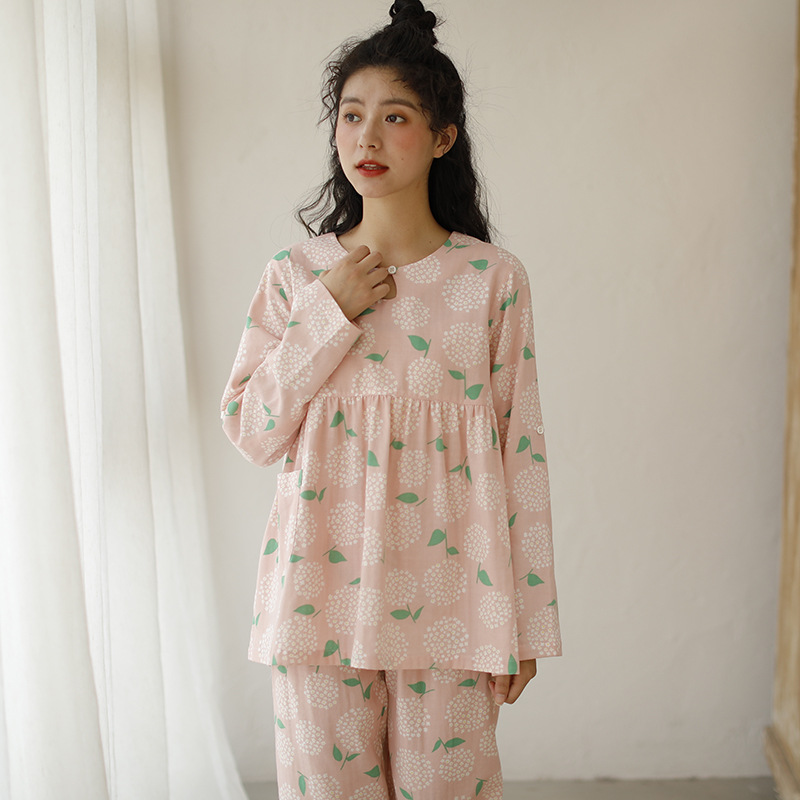 2020 Spring And Summer New Products Pure Cotton Tracksuit Pajamas Women's 100% Cotton Gauze Set WOMEN'S Pajamas