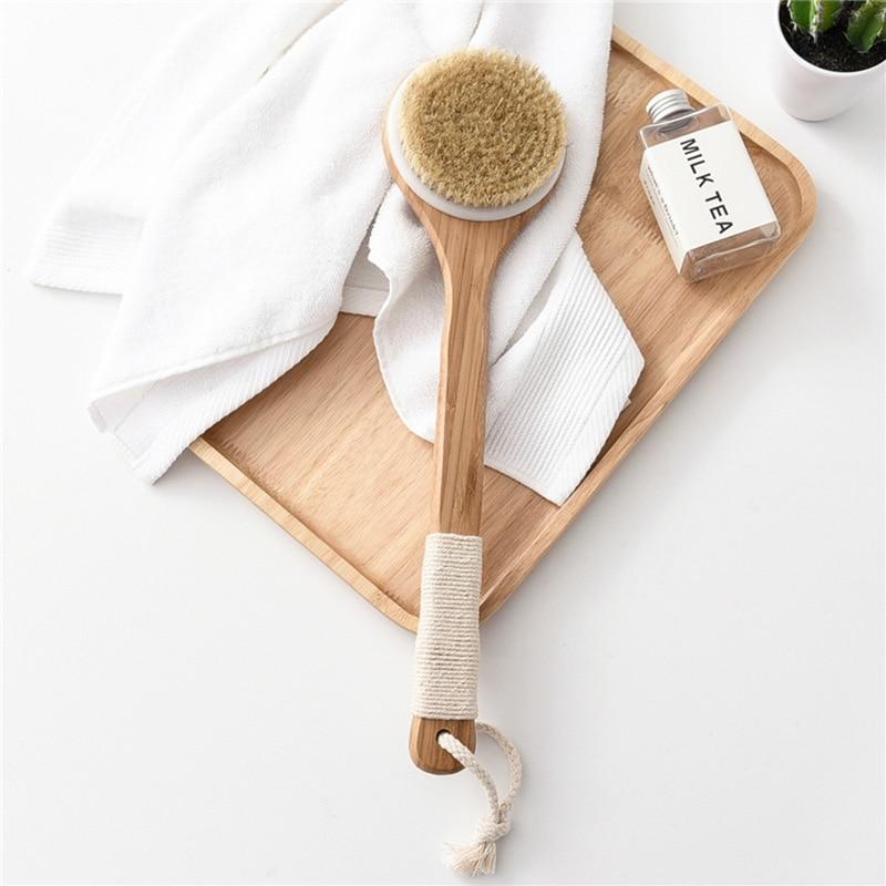 Wooden Exfoliating Massage Shower Brush Natural Bristle Bath Brush Bath Brush SPA Woman Man Skin Care Dry Body Brush