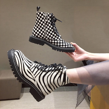 Ladies Boots Fashion Genuine Leather Boots Women Round Toe Lace Up Designer Boots Women Shoes Fall Punk Flat Boots Women's Sho