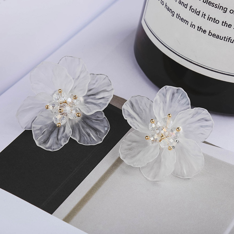 Fairy White Transparent Flower Earrings Personalized Elegant Earring All-match Brief Earring Stud Female