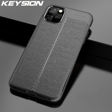KEYSION Phone Case for IPhone 11 Pro Max Case Litchi Leather Texture TPU Silicone Shockproof Black Cover for IPhone 11 Pro Max xincuco soft tpu mobile phone case for iphone 7 with litchi texture black