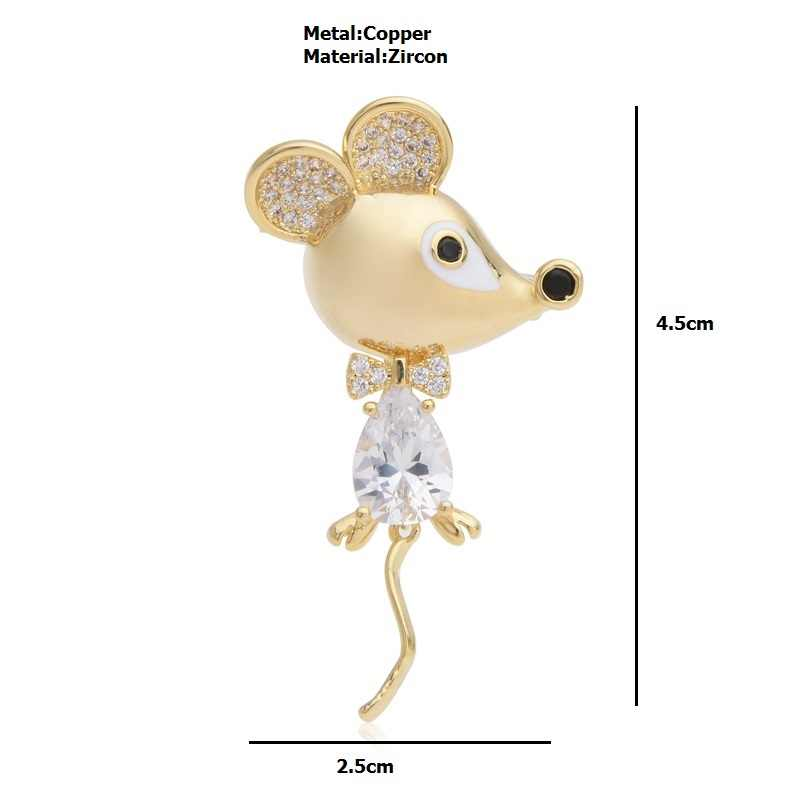 Wuli & baby Ceco Zircone Ratto Del Mouse Spille Spilli Regali di Modo Delle Donne Degli Uomini di Strass Spilla Animale