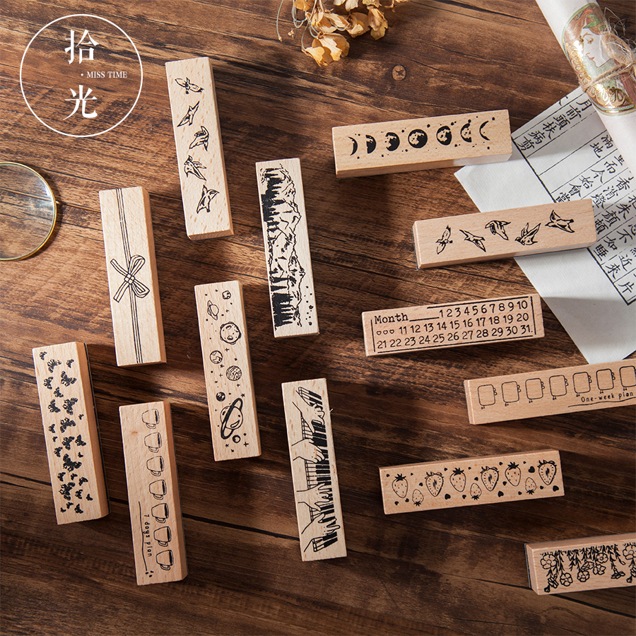 1pc Vintage Natural Star Planet Forest Rubber Seal Stamps Wood Clear Stamps DIY Scrapbooking Decoration Clear Stamps Stationery