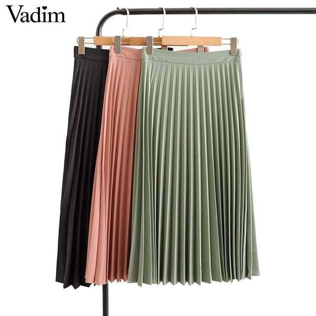 Vadim womem basic solid pleated skirt side zipper green black midi skirts female casual cozy fashion mid cald skirts BA865