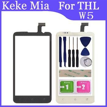 Pantalla táctil para teléfono móvil Keke Mia De 4,7 pulgadas para THL W5, Panel táctil de cristal, Panel táctil, digitalizador, adhesivo gratis + toallitas
