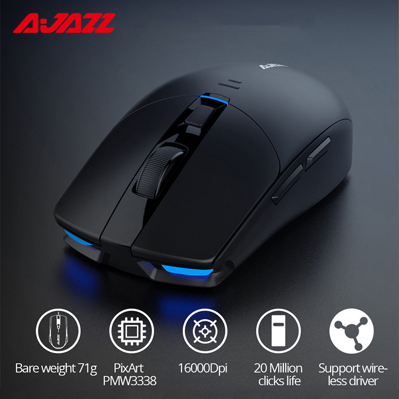 Ajazz I303Pro Wireless Mouse Gaming Mouse Lightweight PixArt PMW3338 Chip Wireless Driver 6 Colors LED Light Adjusting 16000DPI