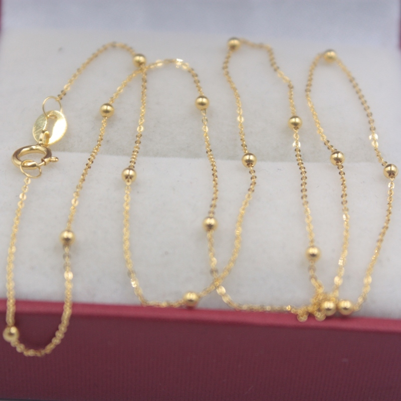 Real 18k Yellow Gold Chain Women Luck Mini Beads & O Chain Link Necklace 40-60cmL 1.5mmW