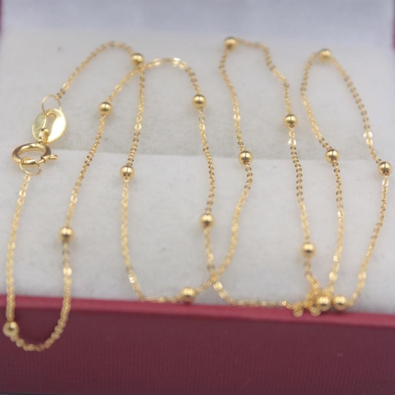 Véritable chaîne en or jaune 18k femmes chance Mini perles & O chaîne lien collier 40-60cmL 1.5mmW