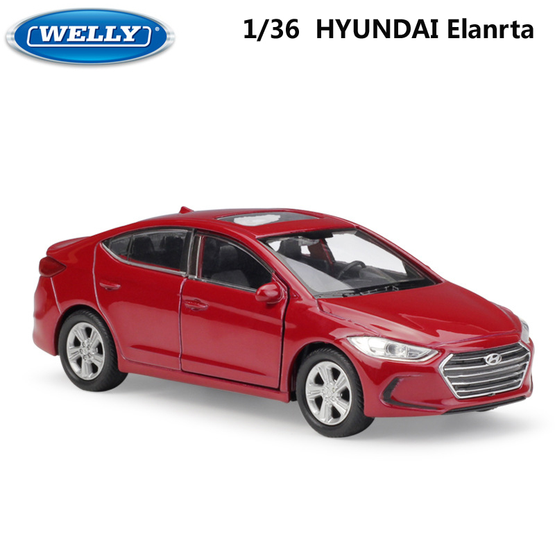 WELLY 1:36 Scale Model Car HYUNDAI Elanrt Diecast Toy Vehicle Pull Back Alloy Car Toy Metal Toy Car For Kids Gifts Collection