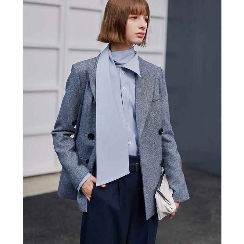 AEL Gray Blue Wool Women's Blazer Long Sleeve Lapel Collar Pocket Female Jacket Coat Spring Office Lady Fashion Clothin