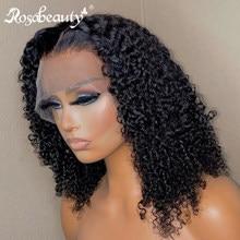 Rosabeauty onda profunda curto bob 13x4 frente do laço perucas de cabelo humano brasileiro remy onda de água peruca frontal para preto feminino encaracolado