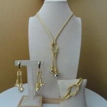 Yuminglai 24Karat Dubai altın takı setleri güzel tasarım kadınlar için FHK7473