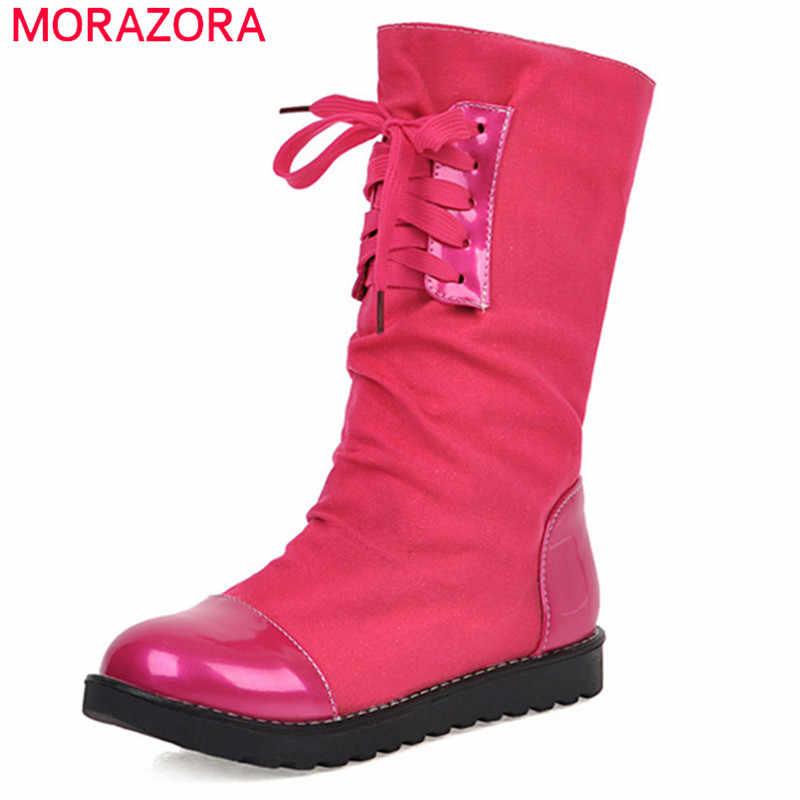 MORAZORA 2020 yeni varış kadın yarım çizmeler lace up rahat rahat düz ayakkabı basit sonbahar kış çizmeler kadın büyük boy 43