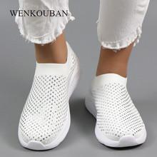 2020 kobiety Mesh platforma trampki damskie wsuwane buty mieszkania buty Casual oddychające skarpety buty kobieta Walking buty Sapatos Feminino tanie tanio WENKOUBAN Podstawowe Mesh (air mesh) RUBBER Slip-on Pasuje prawda na wymiar weź swój normalny rozmiar Na co dzień Bling