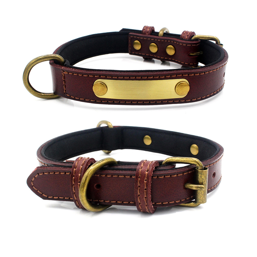 New Style Can Carve Writing Comfortable Lining Cowhide Dog Neck Ring Bronze Iron Piece Comfortable Diving Cloth Lining Pet Colla