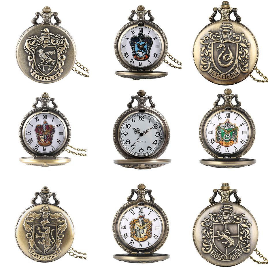 Hot Movie Extension Quartz Pocket Watches Ravenclaw/Slytherin/Gryffindor/Hufflepuff Theme Bronze Necklace Clock Vintage Watches