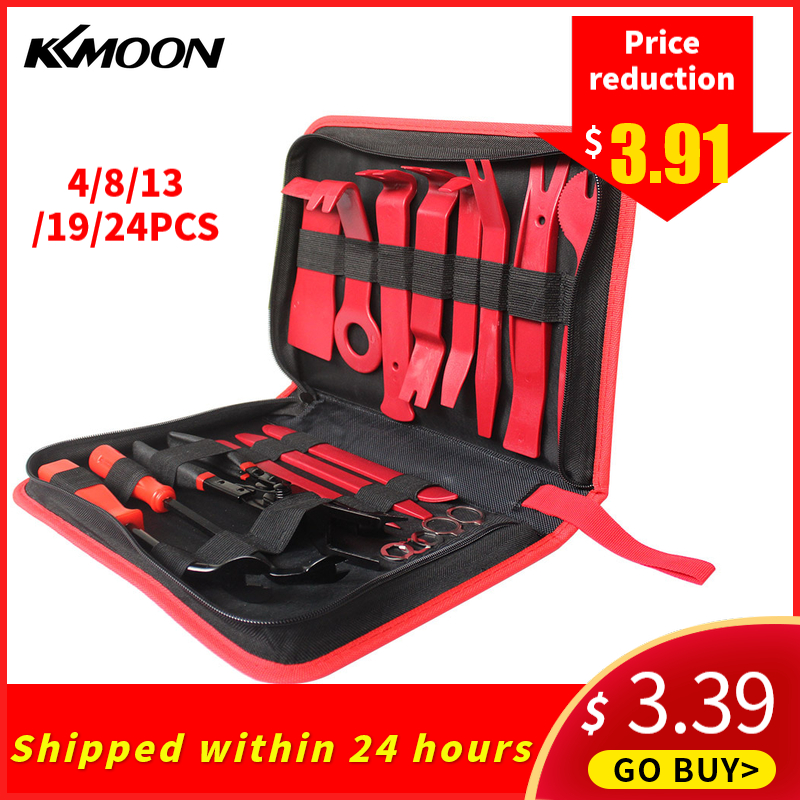 KKMOON 24pcs Car Audio Maintenance Kit Auto Trim Repair Panel Remover Pry Bar Car Dash Radio Door Trim Panel Clip Hand Tools