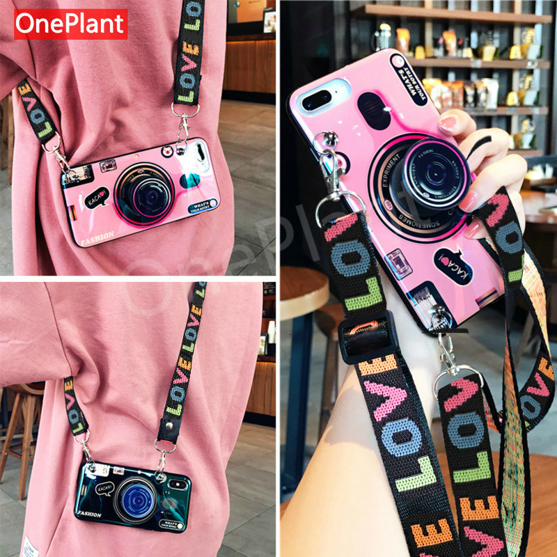 Fashion 3D Retro Camera lanyard Standing Case For iPhone And Samsung S8 S9 5