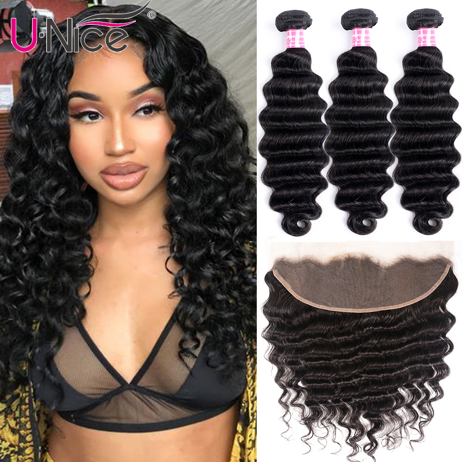 Unice Hair Human-Hair-Weave-Bundles Frontal Deep-Wave Loose 3-Bundles with Remy title=