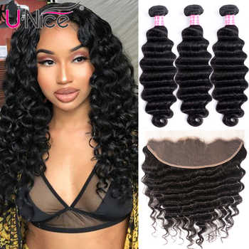 UNice Hair Loose Deep Wave 3/4 Bundles With Frontal Remy Human Hair Weave Bundles With Frontal Brazilian 3 Bundles With Frontal - DISCOUNT ITEM  30% OFF All Category