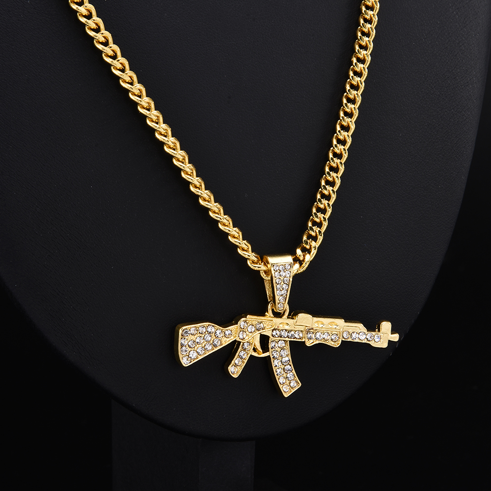 Fashion Punk Hip-Hop Women Men Gun Shape Pendant Crystal Rhinestone Chain Necklace Creative Necklaces Jewelry 1