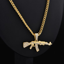 Fashion Punk Hip-Hop Women Men Gun Shape Pendant Crystal Rhinestone Chain Necklace Creative Necklaces Jewelry(China)