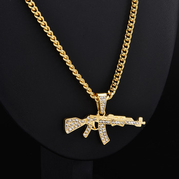 Fashion Punk Hip-Hop Women Men Gun Shape Pendant Crystal Rhinestone Chain Necklace Creative Necklaces Jewelry