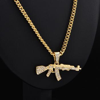 Moda Punk hip-hop kobiety mężczyźni pistolet kształt wisiorek łańcuszek z kryształami górskimi naszyjnik kreatywne naszyjniki biżuteria tanie i dobre opinie yanqueens Other Wisiorek naszyjniki Link łańcucha Metal Wszystko kompatybilny Party 5*2cm