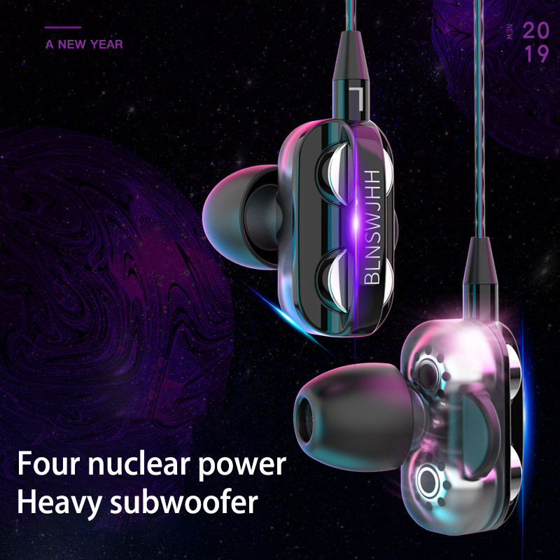 2 pcs 3.5mm Type C Earphones Headsets Four Nuclear Power Sport Earbuds with Microphone Headphones for Xiaomi Redmi 8a Honor