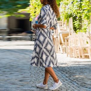 Image 5 - Boho Style Floral Print Midi Dress Turn Down Collar Sashes Fashion Shirt Dress Long Sleeve Pockets Casual Wear For Women Vestido