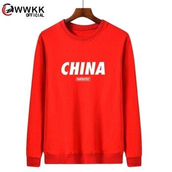 WWKK China red FANTASTICI Printed Sweatshirts Male Autumn Winter 2020 New Fashion O-Neck Pullover Men Harajuku Men's Sweatshirt 2