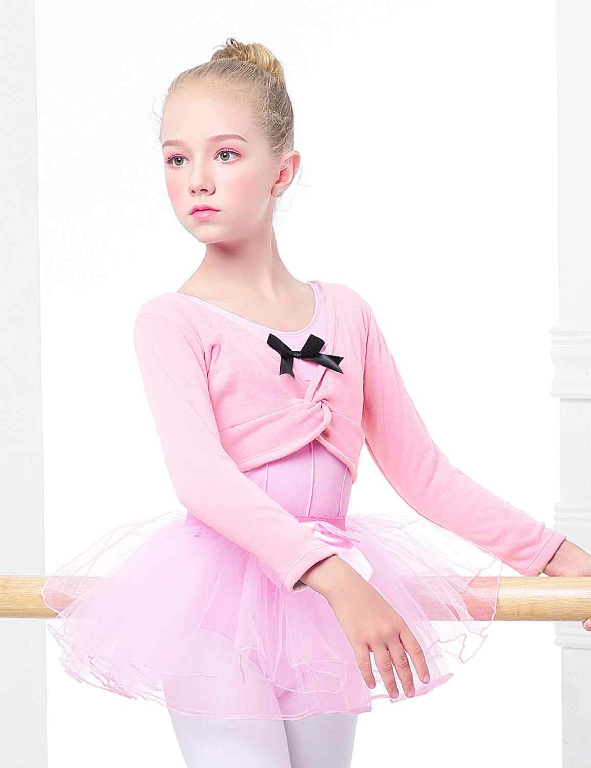 KIdsmian Kids Girls Classic Long Sleeve Knit Wrap Warm Leotard Dance Ballet Dress Covered Knit Short Pants