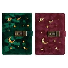 Notebook Stationery Combination-Lock Journal Diary Agenda Password-Moon B6 with Star