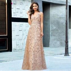 Всегда красивые вечерние платья EP00613RG, роскошное розовое золото, глубокий v-образный вырез, блестки, без рукавов, тюль, сексуальная Вечерние ...