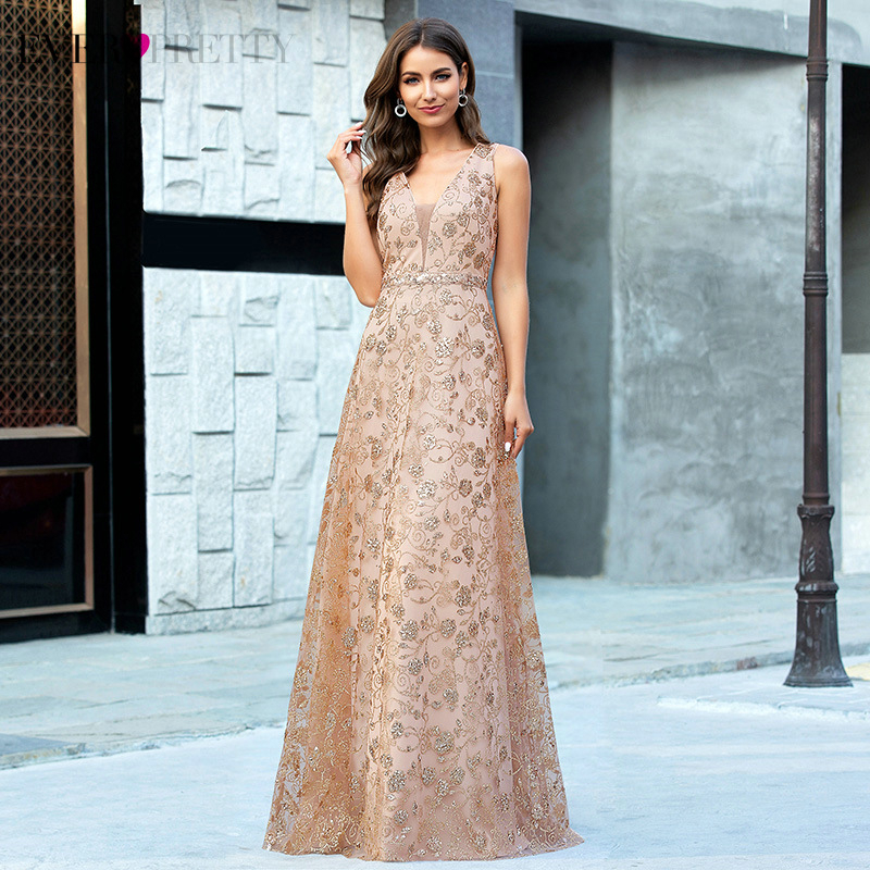 Luxury Rose Gold Evening Dresses Ever Pretty EP00613RG A-Line Deep V-Neck Sequined Sleeveless Tulle Sexy Party Gowns Vestidos