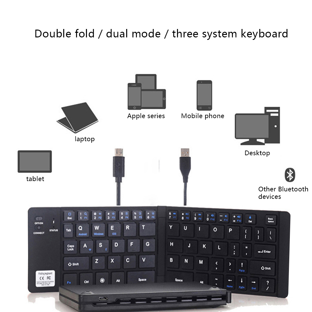 Black Portable Foldable Bluetooth Keyboard Compatible For IPhone X 8 7 6s Plus IPad OD889