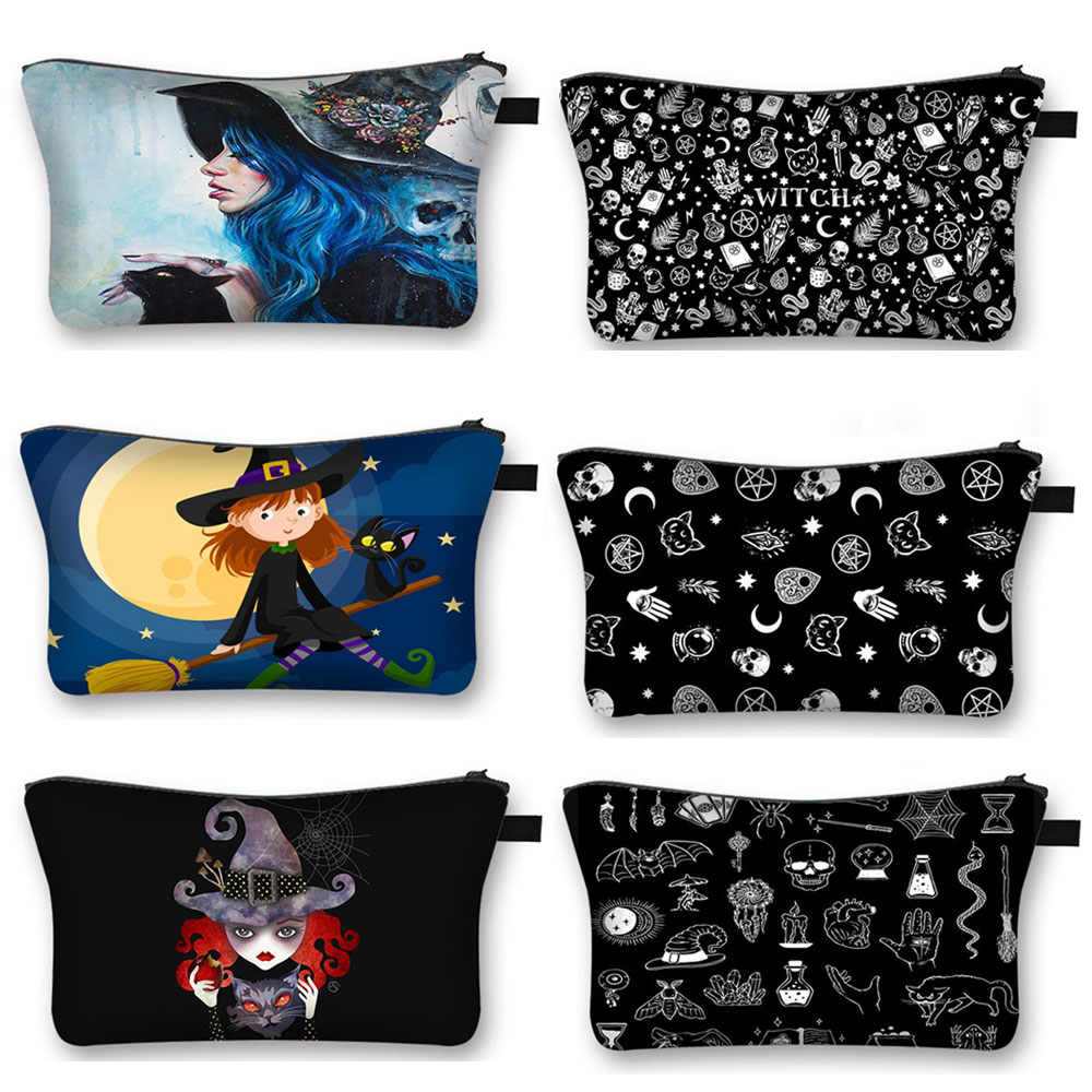 Witch and Black Cat Print Cosmetic Case Witchcraft Women Make Up Bags Ladies Storage Bag for Travel Girls Makeup Bags Organizers